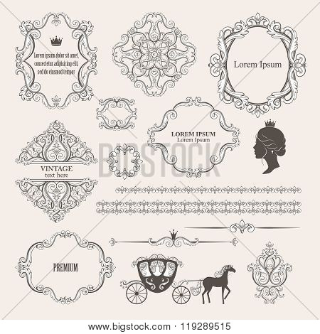 Mega set collections of vintage design elements