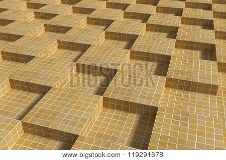 Tiled Glazed Floor Made Of Volume Yellow Cubes