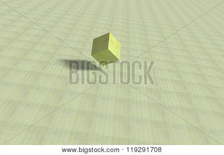 Geometrical Cube On Mosaic Surface