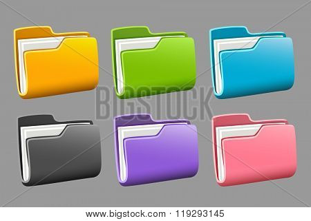 Icons folders set. Vector illustration