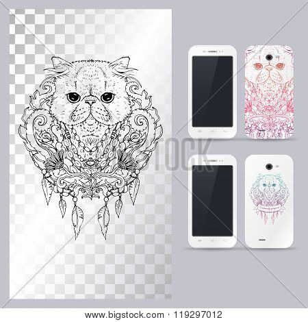 Black and white animal Cat head. Vector illustration for phone case.