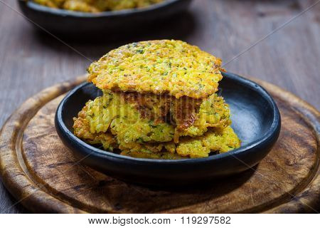 Homemade rice pancakes with herbs