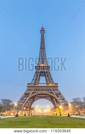 PARIS - MAR 16: Eiffel Tower Sunrise twilight, Paris France on March 16, 2015. The Eiffel tower is the most visited monument of France.