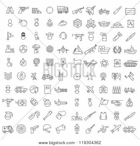 Vector military linear icons set