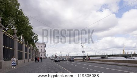 RUSSIA; SAINT-PETERSBURG - JULY 5 - Pedestrians and cars moving in the Summer Garden on July 5; 2015 in St. Petersburg