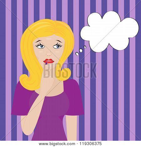 Thinking beautiful blonde woman and speech bubble