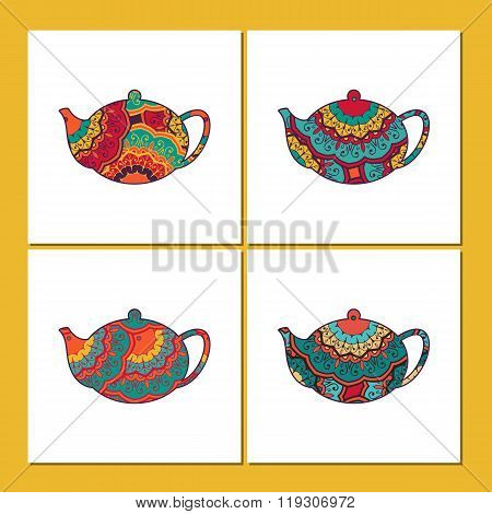 Vector Set Of Cards Or Tea  Package With Ornamental Orient Teapots. Oriental Indian Style.