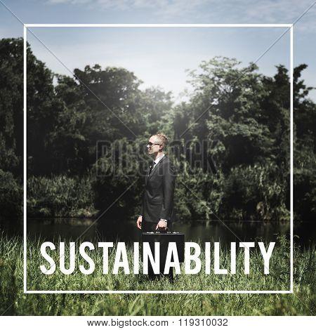 Businessman Alone Leader Green Business Concept