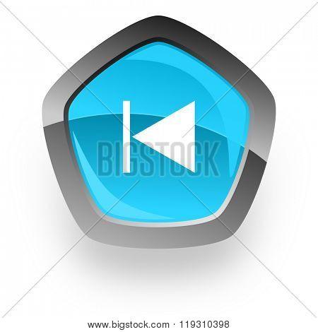 prev blue metallic chrome web pentagon glossy icon