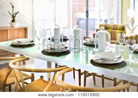 Luxurious Table Setting In A House