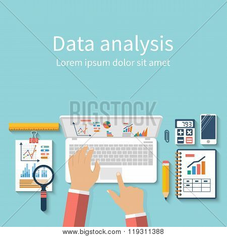 Businessman With Laptop Analyzes Data. Analysis Concept, Flat Design.