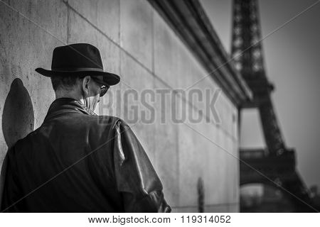 Elderly man only, looking at the Eiffel Tower paris france