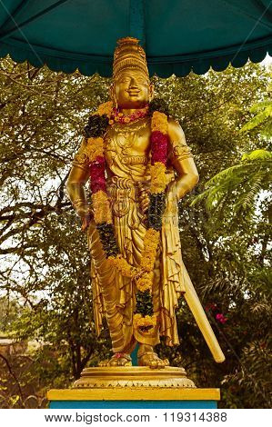 Statue of King Raja Raja Chola I in the outer garden surrounding Brihadeshwara temple, Thanjavur