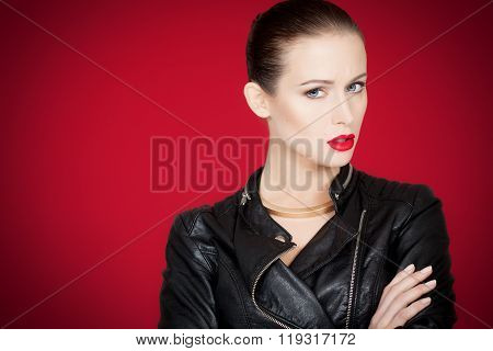 Seriuos Woman Over Red