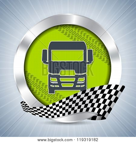 Truck Badge With Tire Tracks And Race Flag Ribbon