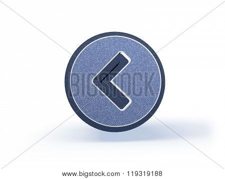 Back Arrow Shopping Icon In Blueish Denim Look