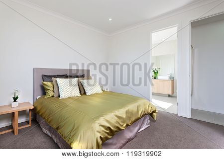 Closeup View Of The Modern Bedroom Interior With Entrance To The Washroom