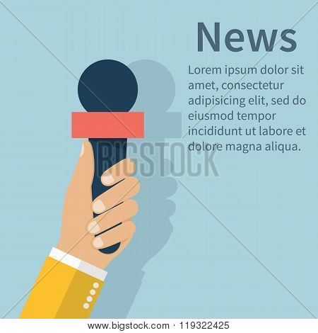 Journalist Holding Microphone. Journalism Concept . Live News Template.
