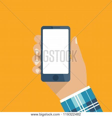 Hand Holding Smartphone. Flat Design, Vector. Phone In Hand Man.