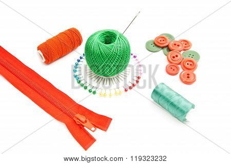 Zipper, Spools Of Thread, Pins And Buttons
