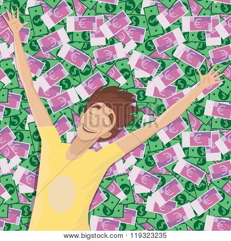 Man Asleep On A Pile Of Money