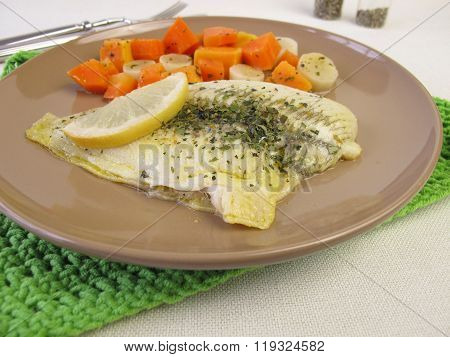 Steamed plaice on vegetables