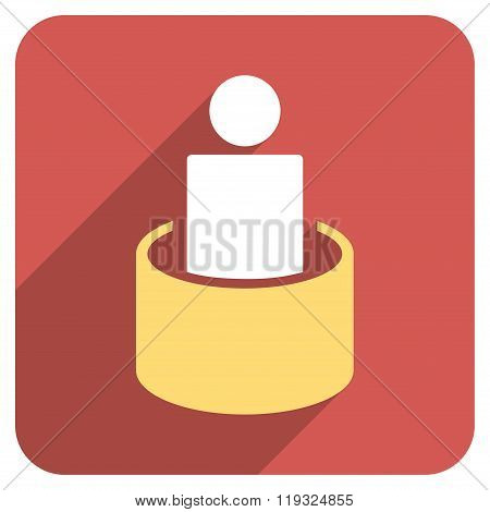 Patient Isolation Flat Rounded Square Icon with Long Shadow