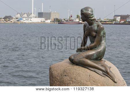 Copenhagen, Denmark - September,07: A Famous Statue Of The Little Mermaid In Copenhagen, Denmark On