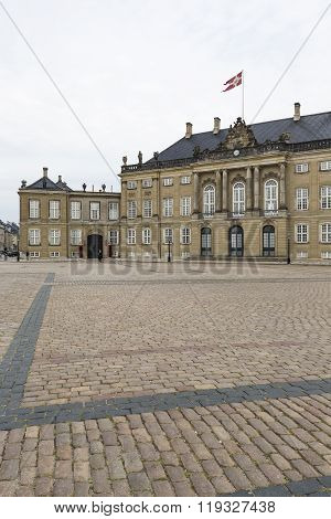Copenhagen, Denmark -september 8: Castle Amalienborg With Statue Of Frederick V In Copenhagen, Denma