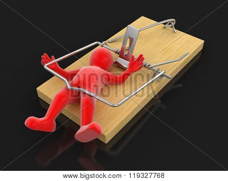 Man and Mousetrap. Image with clipping path