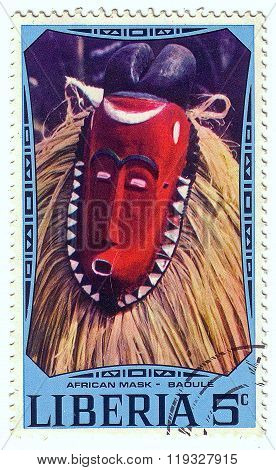 Liberia - Circa 1977: A Stamp Printed In Liberia Shows African National Ritual Mask (baoule), Circa