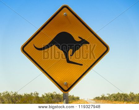 Warning sign for Kangaroo crossing in the Australian outback