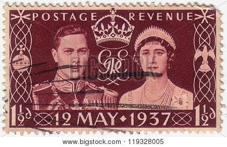 Great Britain - Circa 1937: A Stamp Printed In The Great Britain Shows King George Vi And Queen Eliz