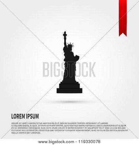 Black silhouette statue of liberty. Flat