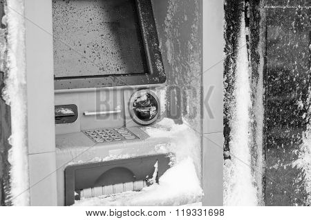 Atm Machine Covered With Snow. Black And White Picture Of Functional Bank Atm Machine Covered With I
