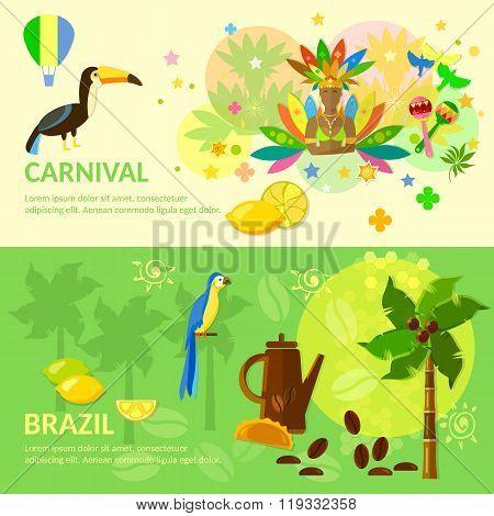 Brazilian Carnival  Brazil Banners Brazilian Culture Vector Illustration