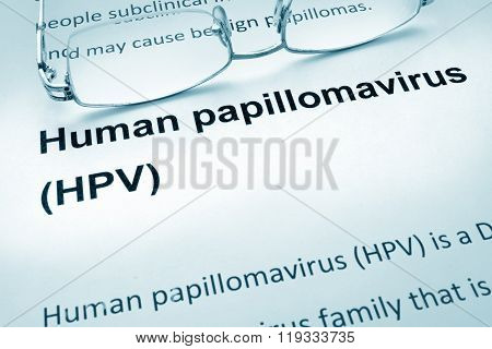Paper with words  HPV infection.
