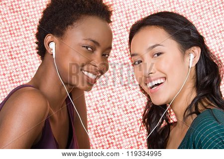 Friends sharing mp3 player
