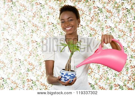 Woman watering houseplant poster