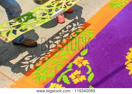 Lifting Stencil Off Holy Week Carpet, Antigua, Guatemala