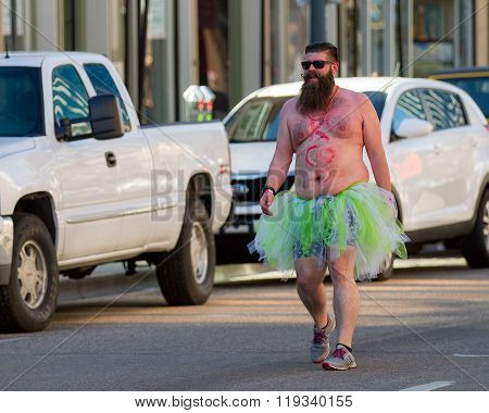 Boise, Idaho/usa February 13, 2016: Man Dressed Up And Topless Having Fun During The Cupids Undie Ru