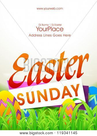 Easter Sunday Pamphlet, Banner or Flyer design with glossy painted Eggs on grass.
