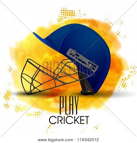 Creative blue helmet on shiny abstract background for Cricket Sports concept.