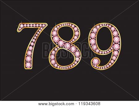 789 Rose Quartz Jeweled Font With Gold Channels