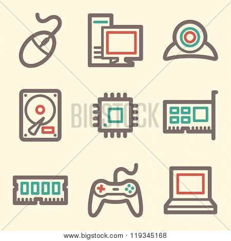 Computer web icons, laptop and desktop; gamepad and camera, vector stock signs