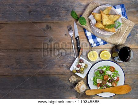 Greek Filo Pastries And Salad