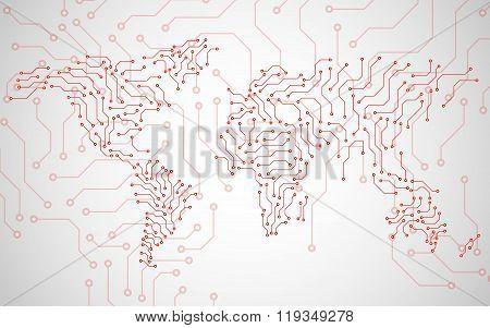 World Map. Circuit board. Technology background