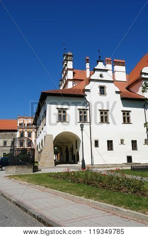 Old White Building In Levoca Town.