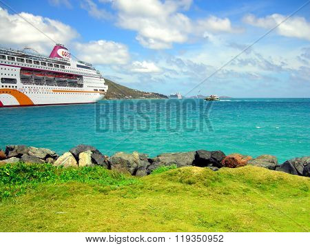 Ocean Village cruise ship in Tortola harbor in the West Indies