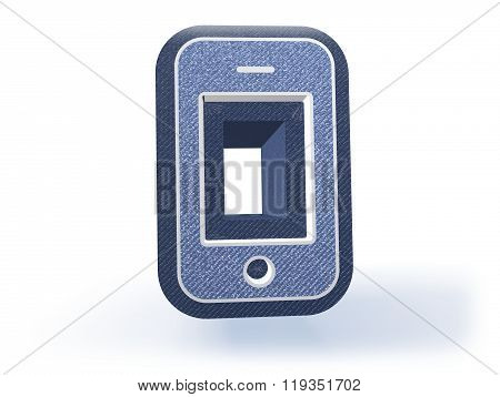 Phone Shopping Icon In Blueish Denim Look